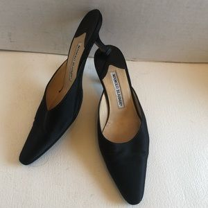 Manolo Blahnik satin slip on mules kitten heels